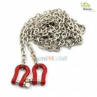 1 Chaîne 96cm avec 2 manilles métal rouges