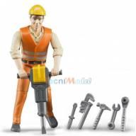 Bruder - 60020 - Figurine - Ouvrier Avec Accessoires De Chantier