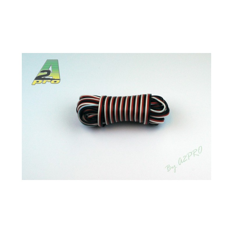 Cable plat noir rouge blanc type futaba 0 30mm 5m - Cable blanc rouge jaune ...