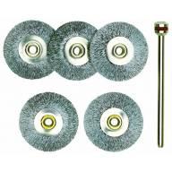 5 Brosses en acier inoxydable - disques Ø 22 mm