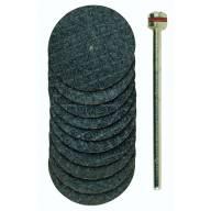 10 Disques à tronçonner armés en oxyde d'aluminium Ø 22 mm et tige Ø2,35