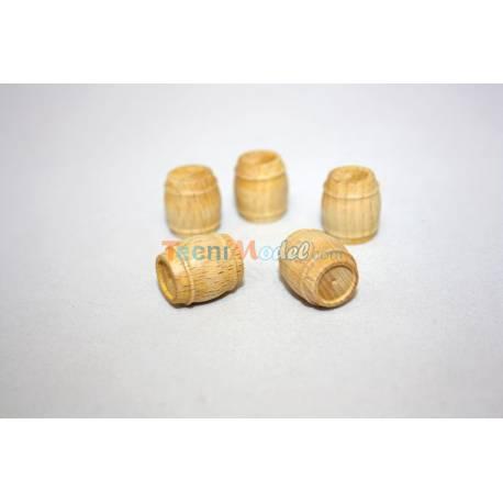 5 Tonneaux en bois 15x17mm