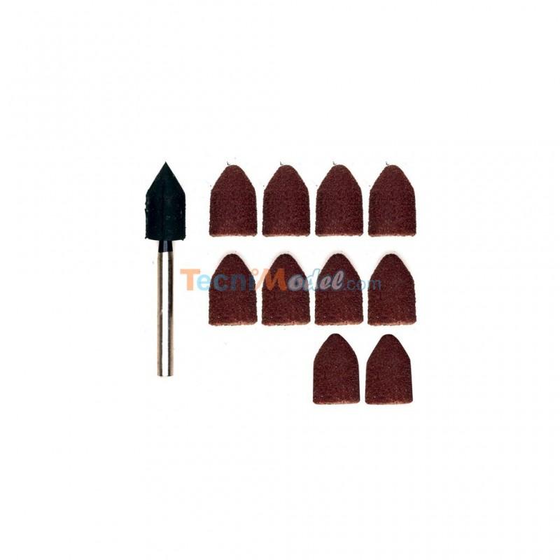 papier meri forme capuchon 9 grain 80 150 par 5 pi ces de chaque 1 tige proxxon 28987. Black Bedroom Furniture Sets. Home Design Ideas