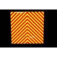 Adhésif rétroréfléchissant rayures rouge/jaune 200 x 200 mm