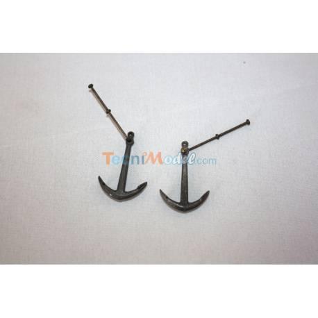 2 Ancres métal 31x23mm pour yacht classique fin 19ème AERONAUT 562330