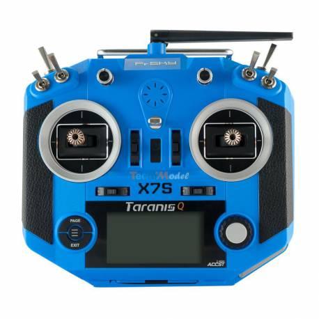 Radio Fr-Sky Taranis QX7S Bleue 2.4Ghz (EU-LBT) + mallette, config Tecnimodel 16-32 voies