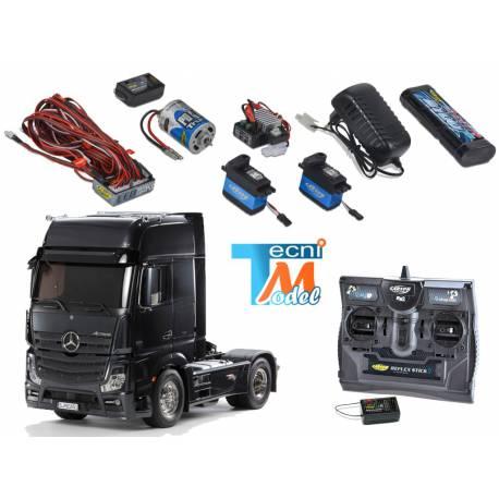 Camion Tamiya Mercedes Actros Black Edition 1/14 + Truck-Set Carson