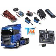 Camion Tamiya Scania r620 bleu + Truck-Set Carson