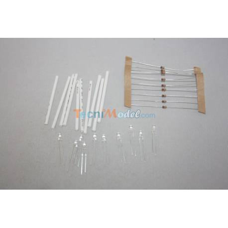 10 Leds 3mm blanches 12v luminosité faible