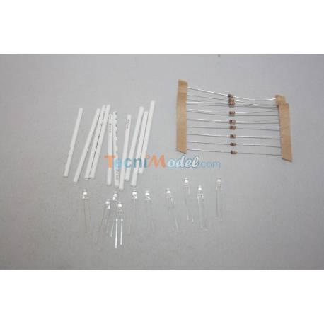 10 Leds 3mm blanches 6v-7,2v luminosité Forte