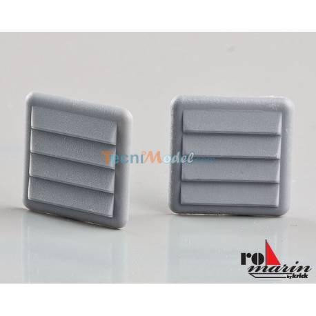 2 Grilles de ventilation factices 15mm x 15mm en plastique gris KRICK RO1396