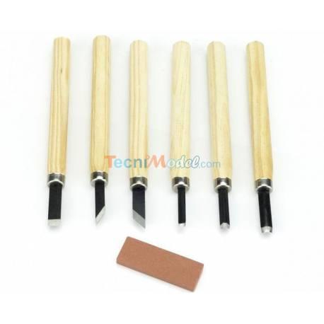 Lot d'outils pour sculpture bois avec pierre à aiguiser KRICK 492411