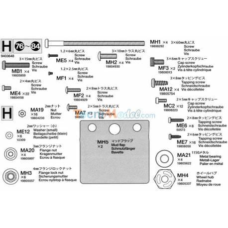 Sachet de pièces H pour Volvo FH16 56360 Tamiya 9403648
