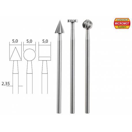 3 Fraises à embouts en acier wolfram-vanadium axe 2,35 mm PROXXON 28720