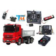 Camion Tamiya Mercedes Arocs 3348 benne 56361 ROUGE avec levage, lumières et son (Pack Complet)