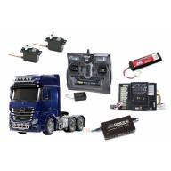 Pack Complet Mercedes Actros 6x4 3363 1/14 Tamiya 56354 avec module lumières et sons