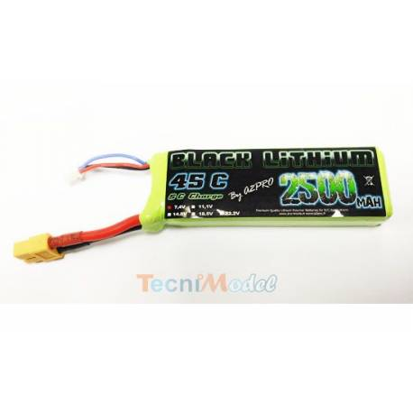 Black Lithium 2500mAh 45C 2S (131 grs) XT60