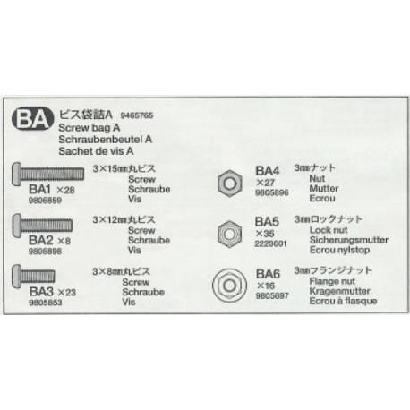 Sachet de vis A pour Scania R620 Tamiya 56323