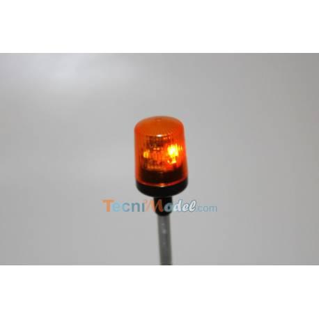 Gyrophare orange Ø12mm cabochon carré base tubulaire