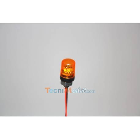 Gyrophare orange Ø10mm cabochon carré base filetée