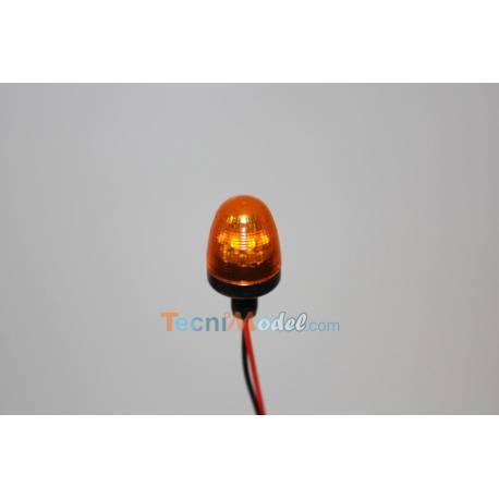 Gyrophare orange Ø10mm cabochon arrondi base tubulaire