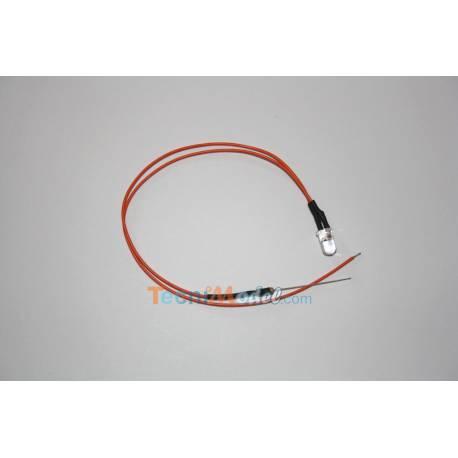 4 Leds câblées 5mm oranges 12v fil de 18cm luminosité moyenne