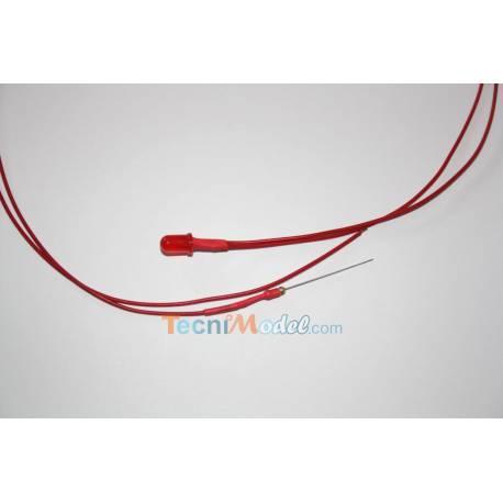 4 Leds câblées 5mm rouges 12v fil de 50cm luminosité moyenne