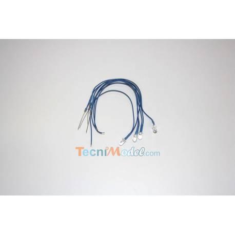 4 Leds câblées 5mm bleu luminosité forte 6v - 7.2v fil de 18cm