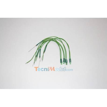 4 Leds cablées rectangulaires 2x3mm 12v fil 18 cm Vert