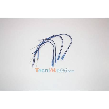 4 Leds cablées rectangulaires 2x5mm 12v fil 18 cm Bleu
