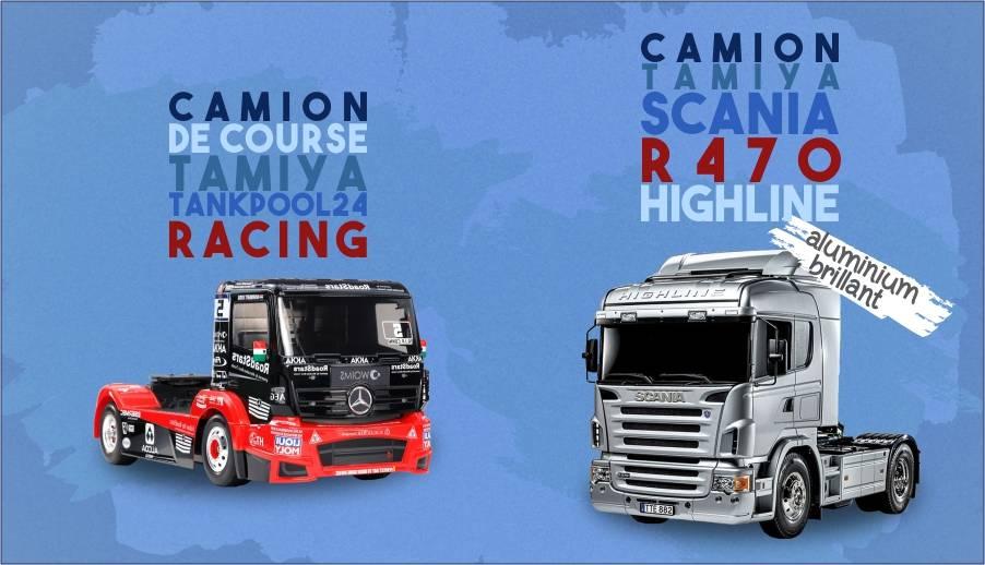 camions course et scania argenté