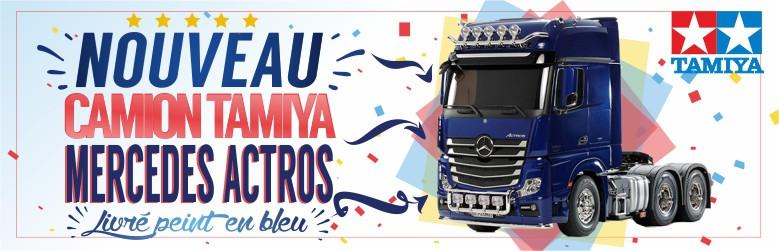 Nouveau Camion Tamiya Mercedes Actros 3363 6x4 Gigaspace 1/14 version bleu métallisé
