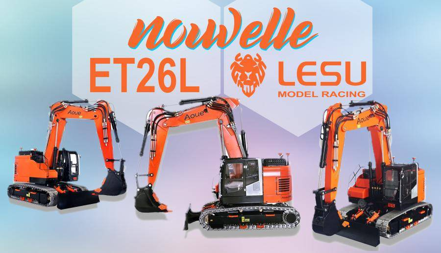 Excavatrice Hydraulique Compacte RC avec bras à volée variable LESU ET26L 1/14